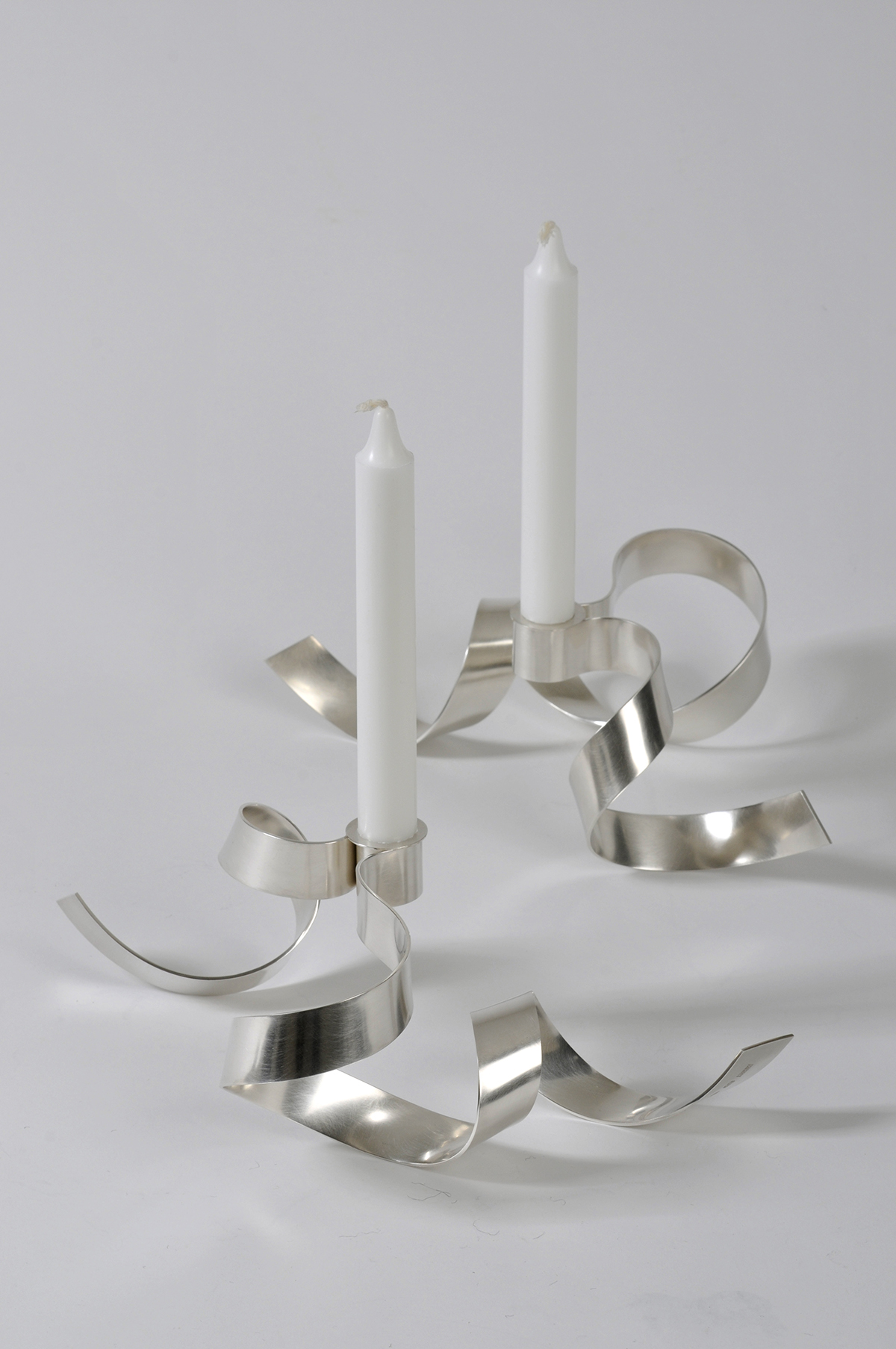 'Everyday Ribbon Candlesticks' sterling silver