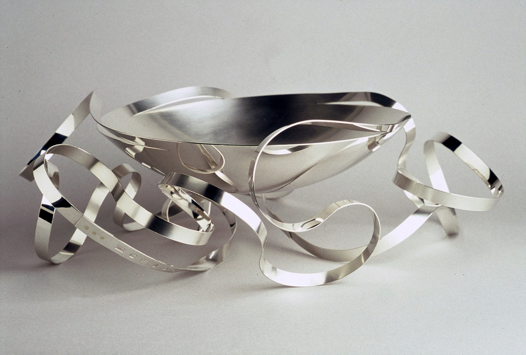 'Ribbon Bowl' sterling silver and 18 Carat gold