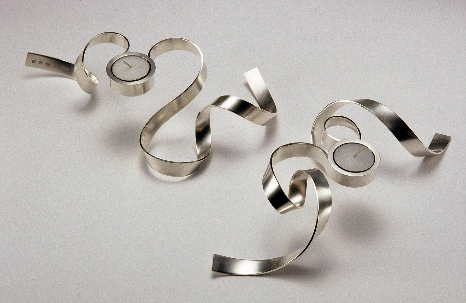 'Ribbon Tea Lights' sterling silver
