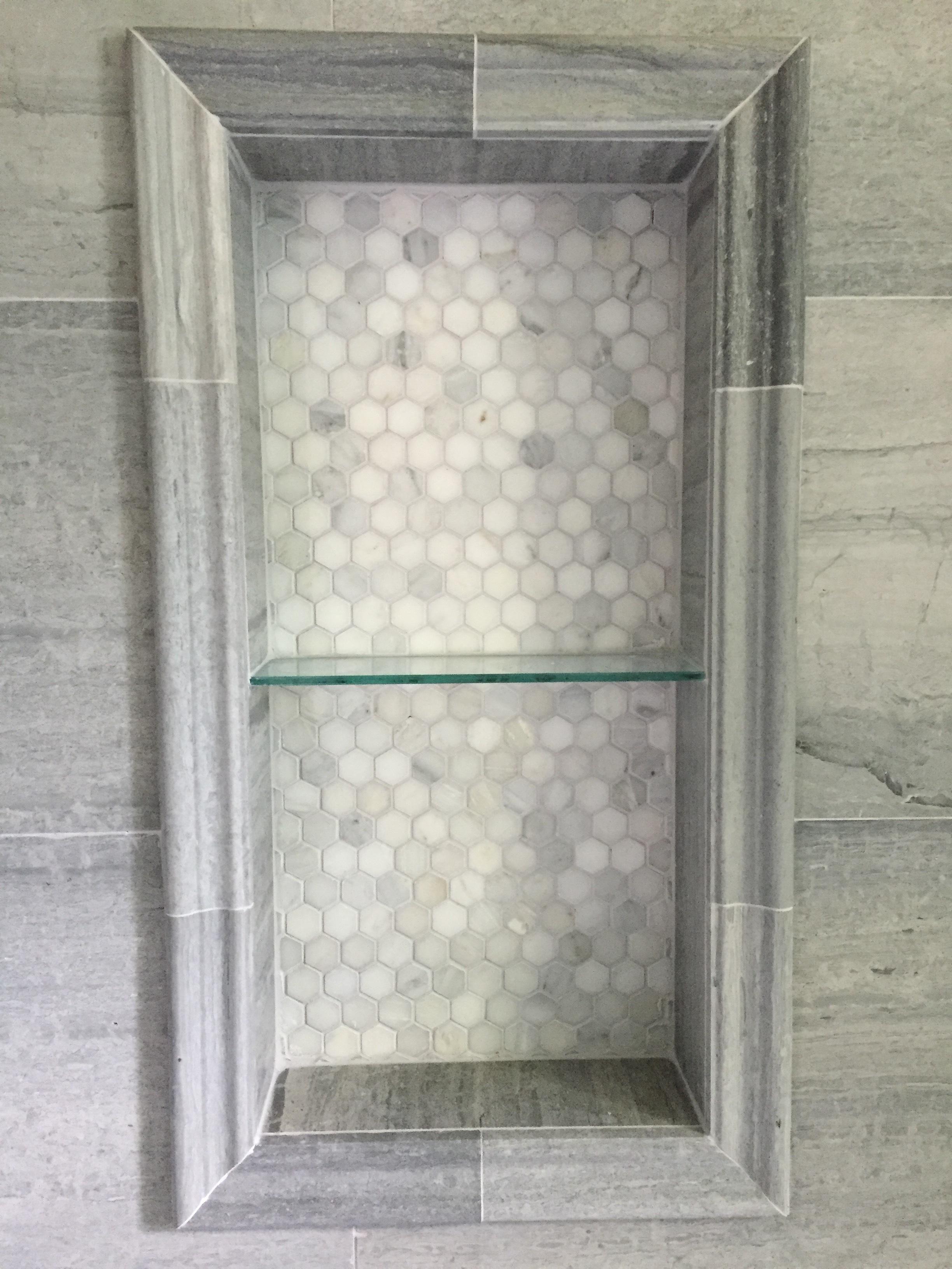 Custom Bathroom Carrera Marble Tile Niche