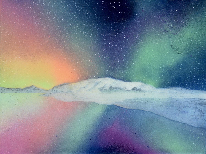 "Evening Glow • Spray paint + resin on wood panel ∙ 12 x 16"" ∙ 2016"