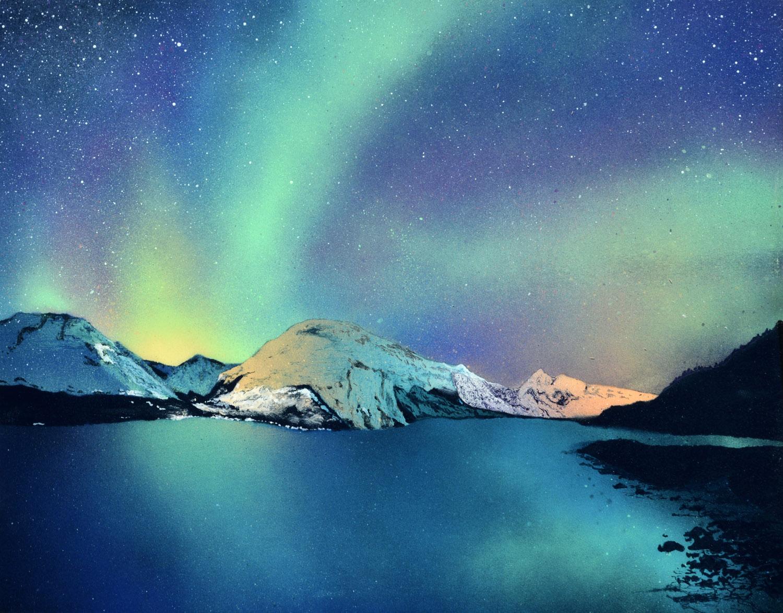 """Luminous Nightfall • Spray paint + resin on wood panel ∙ 18 x 14"""" ∙ 2016"""