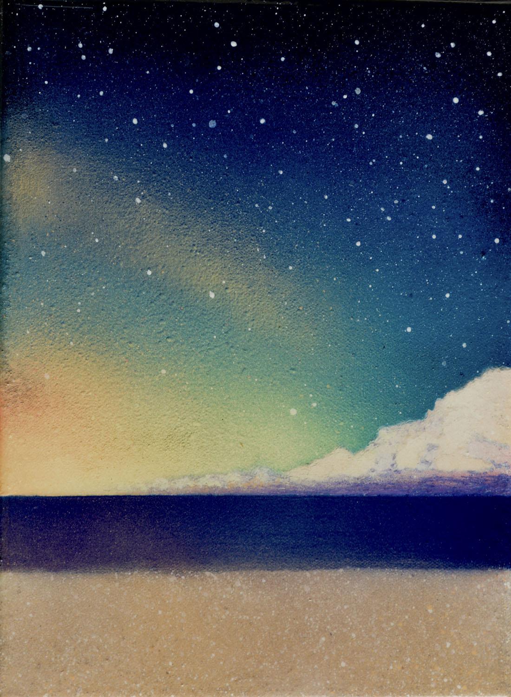 "Twilight • Spray paint + resin on wood panel ∙ 14 x 11"" ∙ 2016"