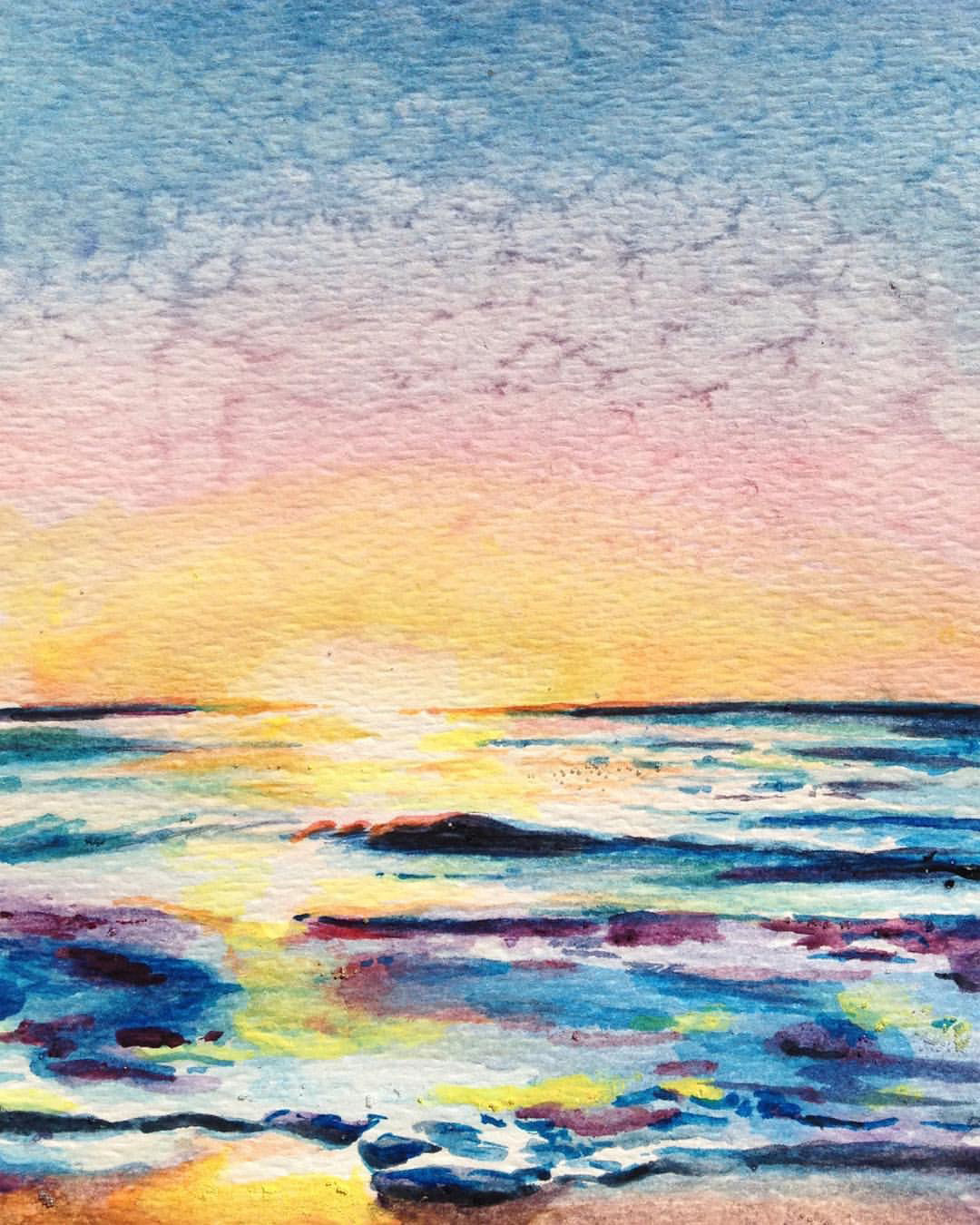 """With Every Sunset There is Another Sunrise •  Watercolor on paper ∙ 9 x 6"""" ∙ 2016"""
