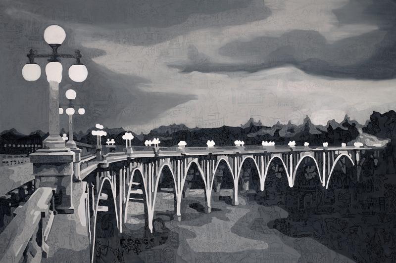 "Colorado Street Bridge   Oil on canvas   48 X 72""   2014"