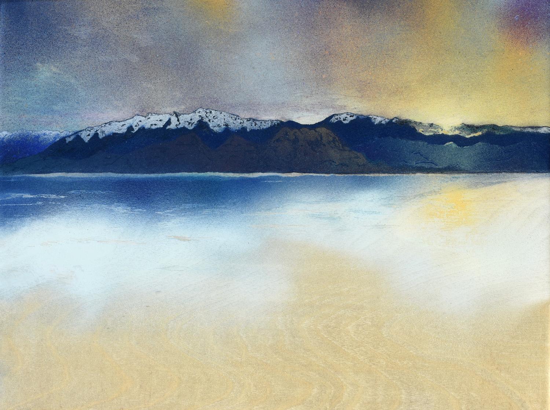 "Desert Snow • Spray paint + resin on wood panel ∙ 12 x 16"" ∙ 2016"