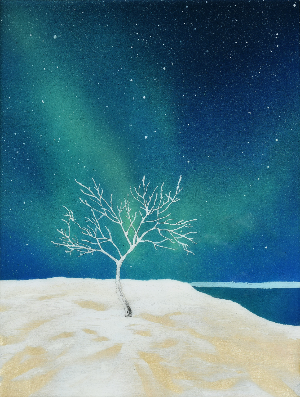 """Tree • Spray paint + resin on wood panel ∙ 12 x 16"""" ∙ 2016"""