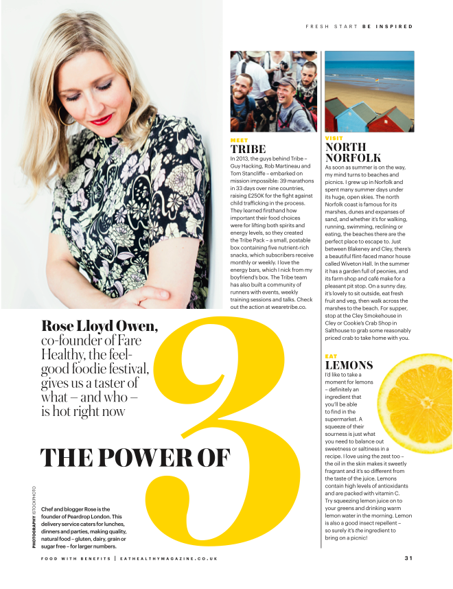 Eat Healthly Magazine, monthly column, March 2016