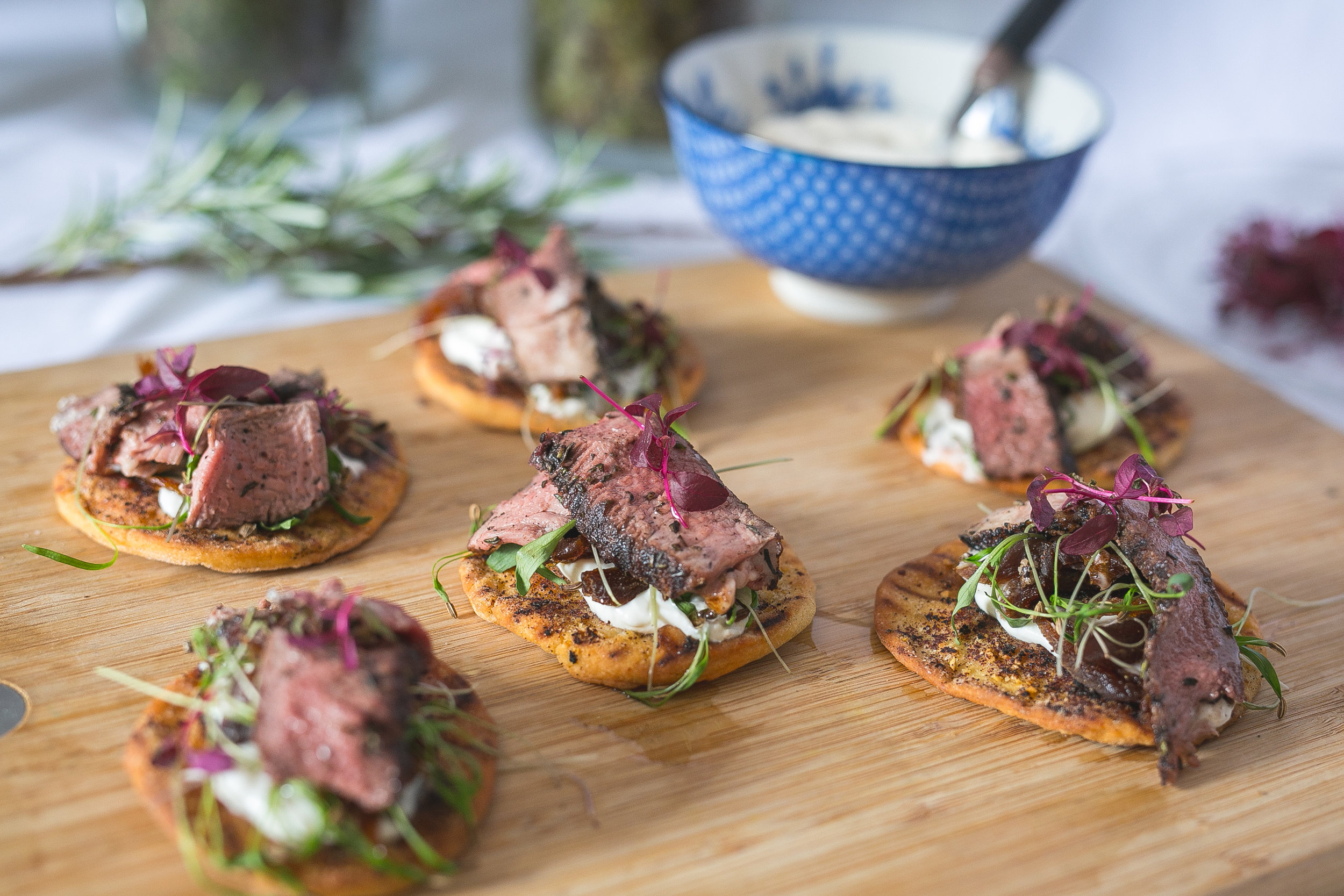 Higher Hacknell lamb chops with homemade flatbreads, rosemary labneh made with Rachel's Organic Greek yoghurt and Crazy Jack apricots