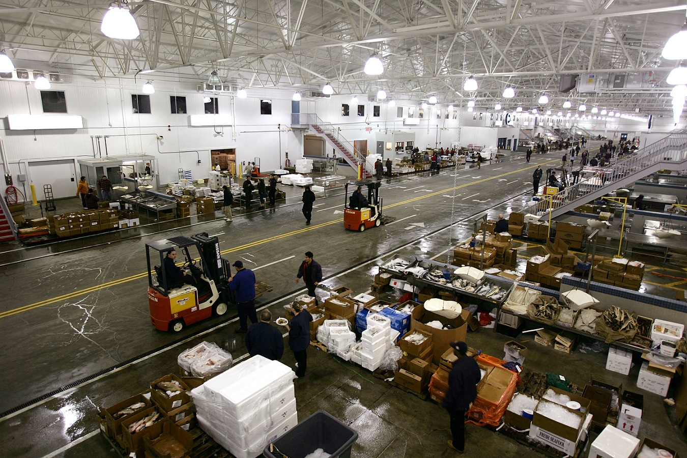 Workers sort fish at the New Fulton Fish Market, one of three cooperative markets at the Hunts Point Food Distribution Center in the Bronx. (Spencer Platt/Getty Images)