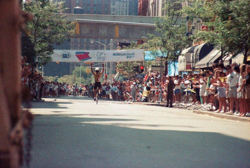 Tim Swift wins the final stage of the 1989 Tour de Michigan in Greektown - Detroit, MI.