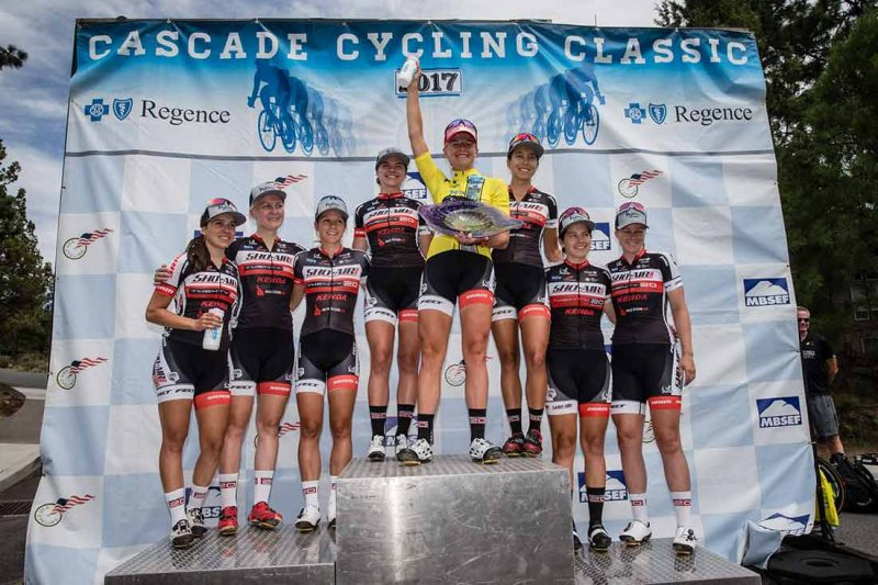 Allie Dragoo shares the Cascade Classic podium with her Sho-Air-Twenty20 teammates. Read more at  VeloNews.