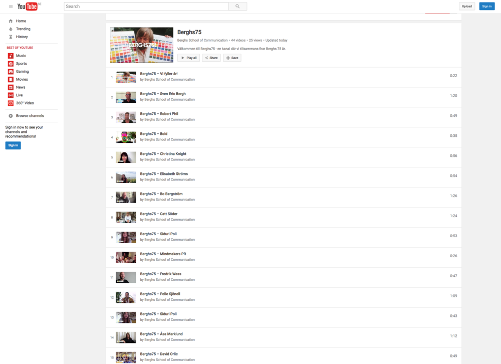 Berghs75 Playlist – on  YouTube