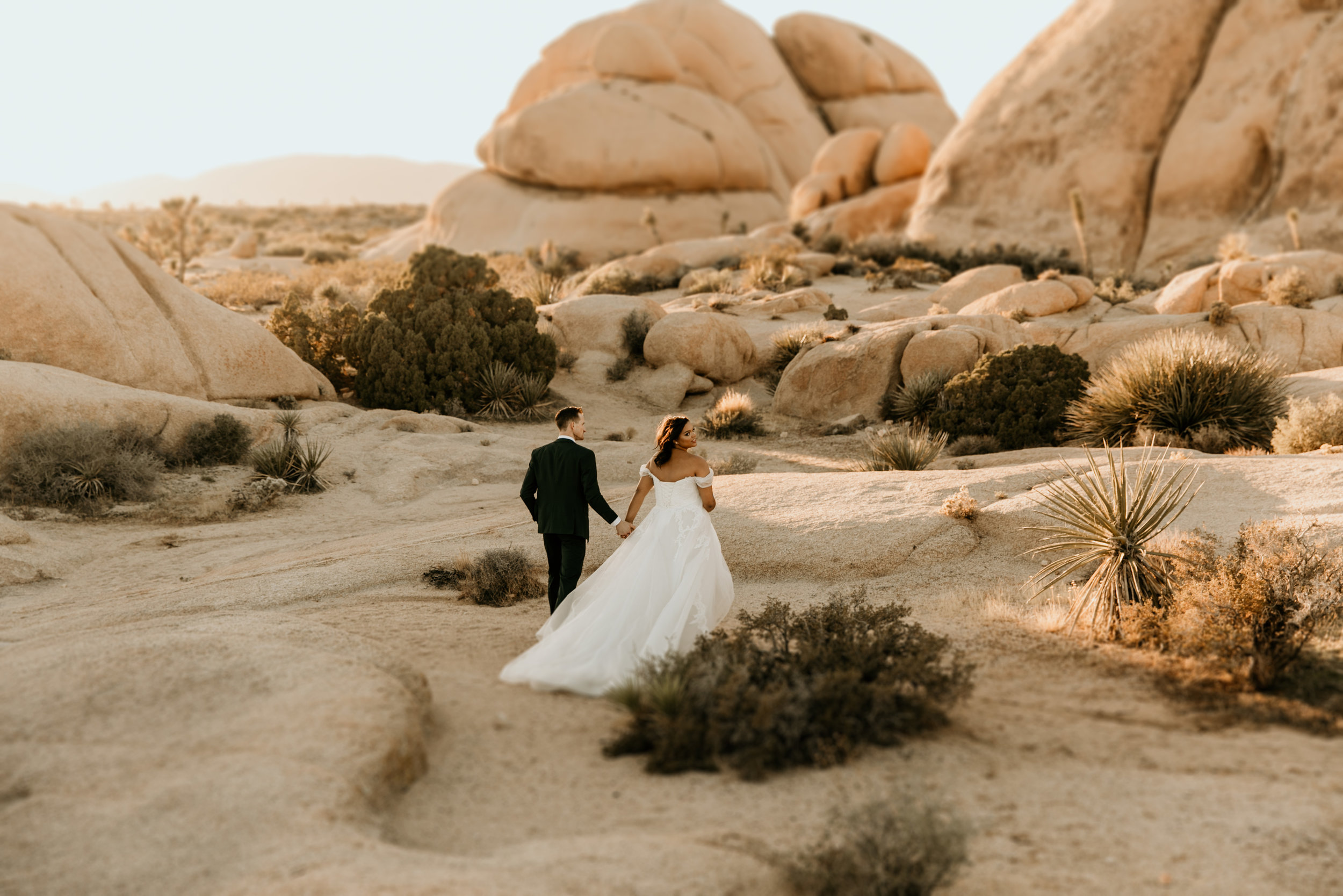Sunset Joshua Tree elopement at Jumbo Rocks   Elopement