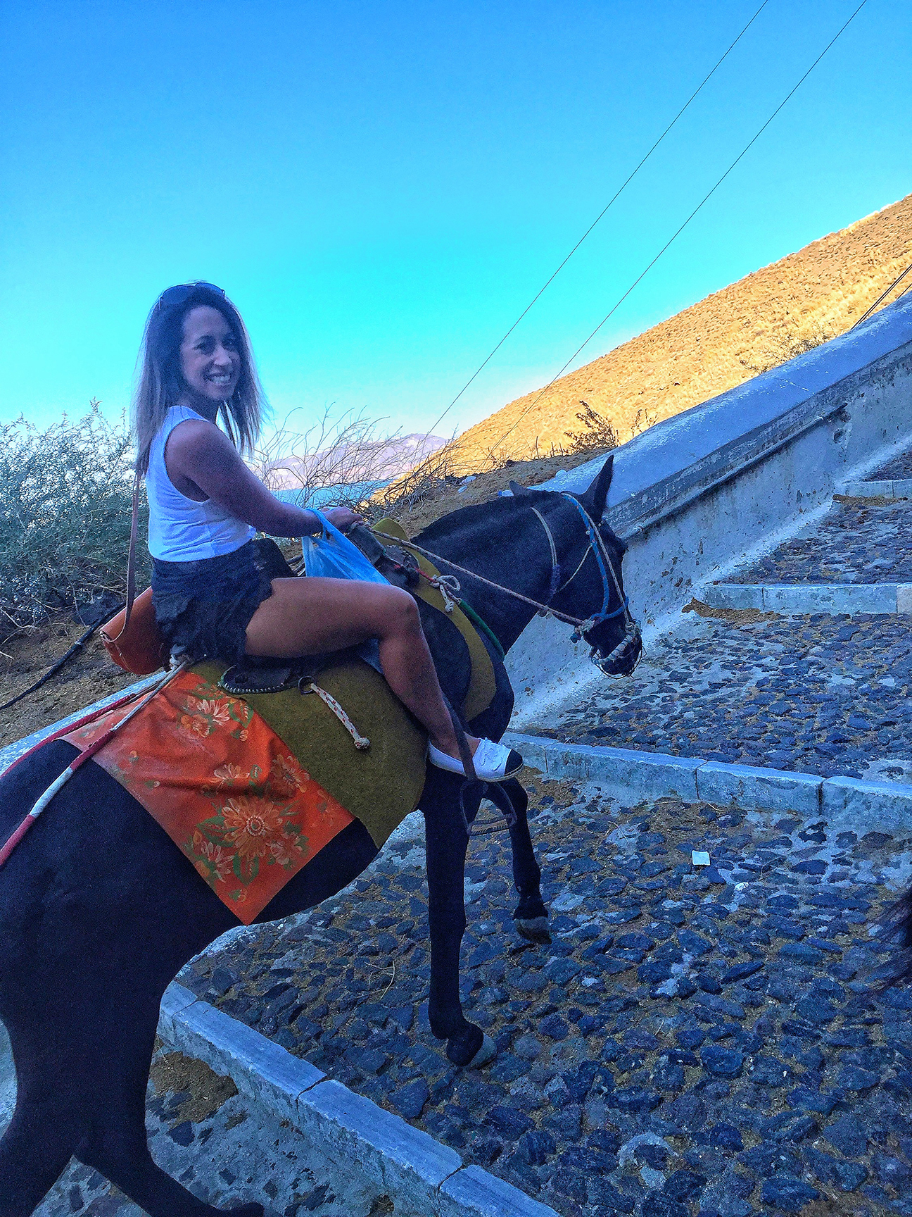 It is slightly hard getting a good photo on yourself riding a donkey - hence the weird coloring of this