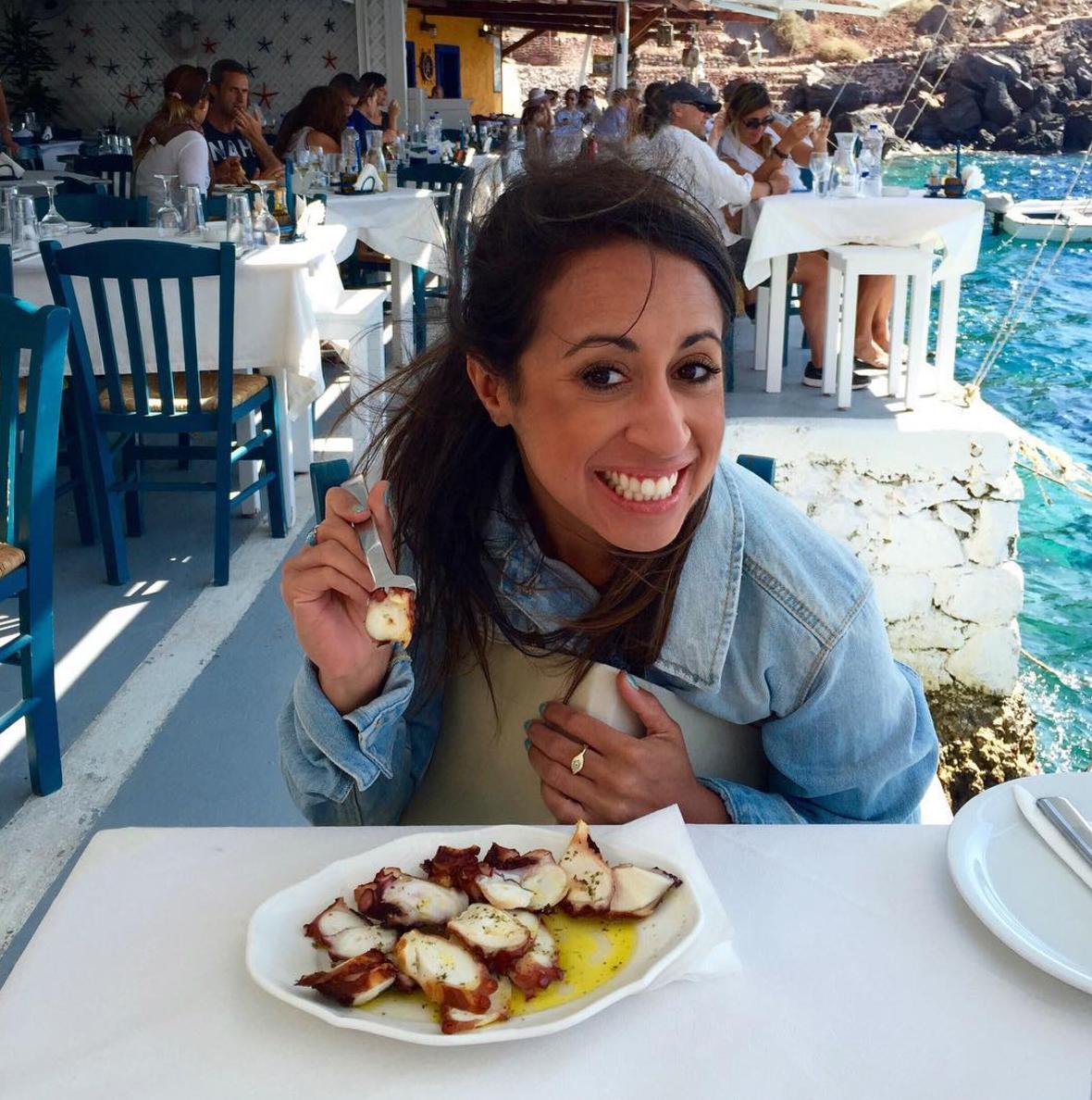 Eating octopus for the first time in Santorini (September 2016)
