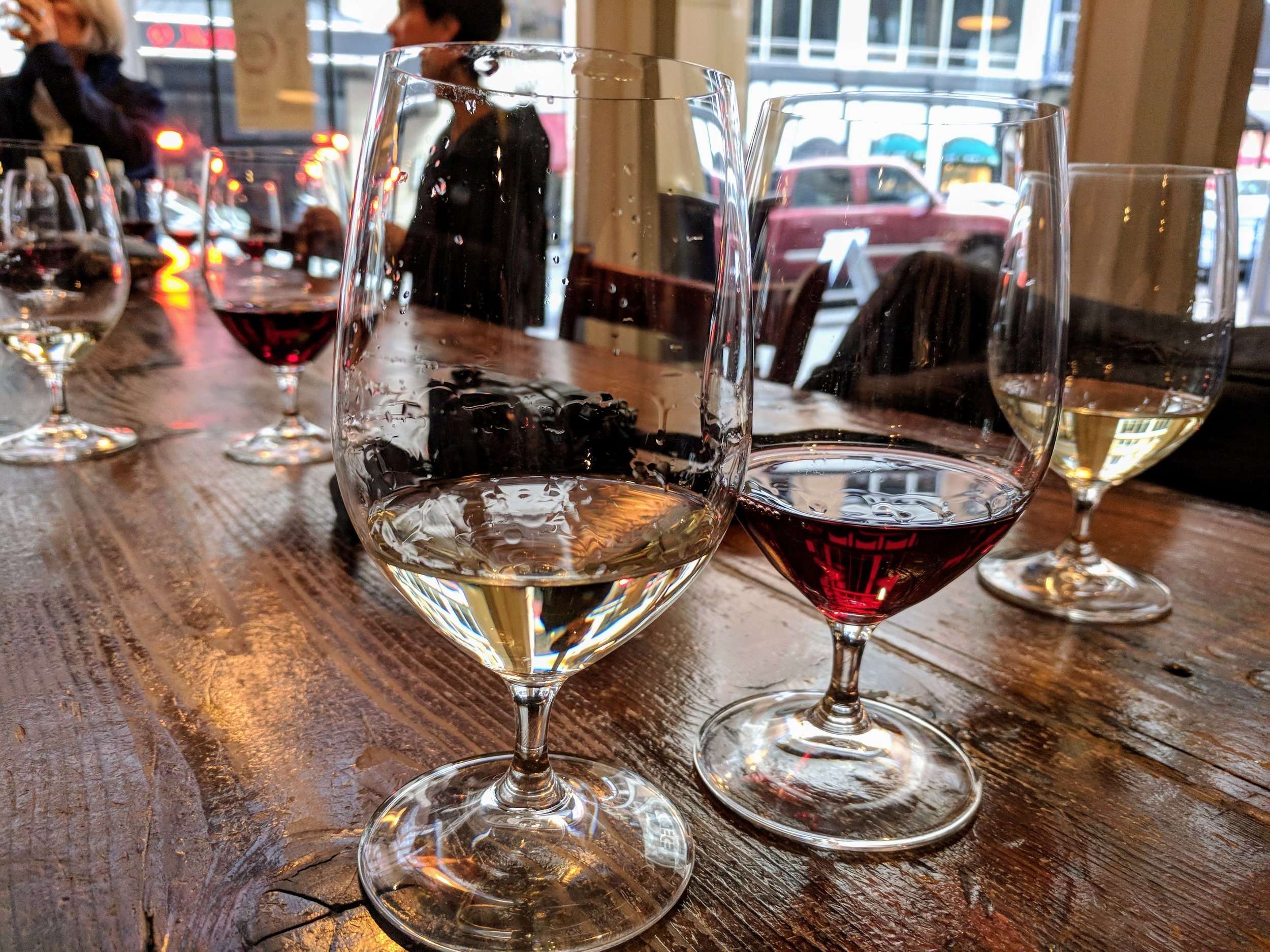 The Libra Wines Pinot Gris (L), and the Stoller Family Estate Pinot Noir (R)
