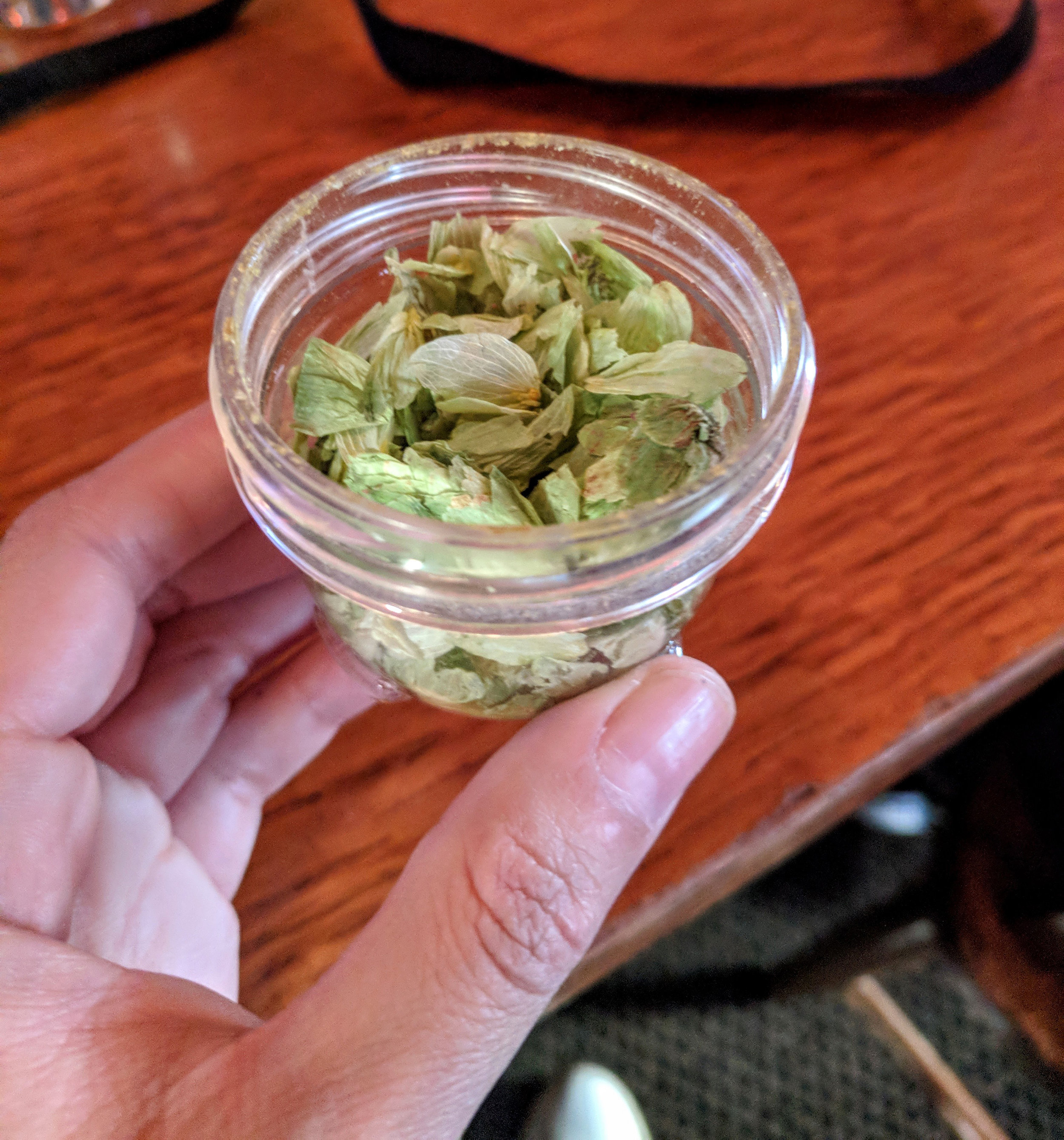 """These are whole hops (which can also be called """"leaf hops"""" or """"raw hops""""). They are the whole dried cone flowers of the female hop plant."""