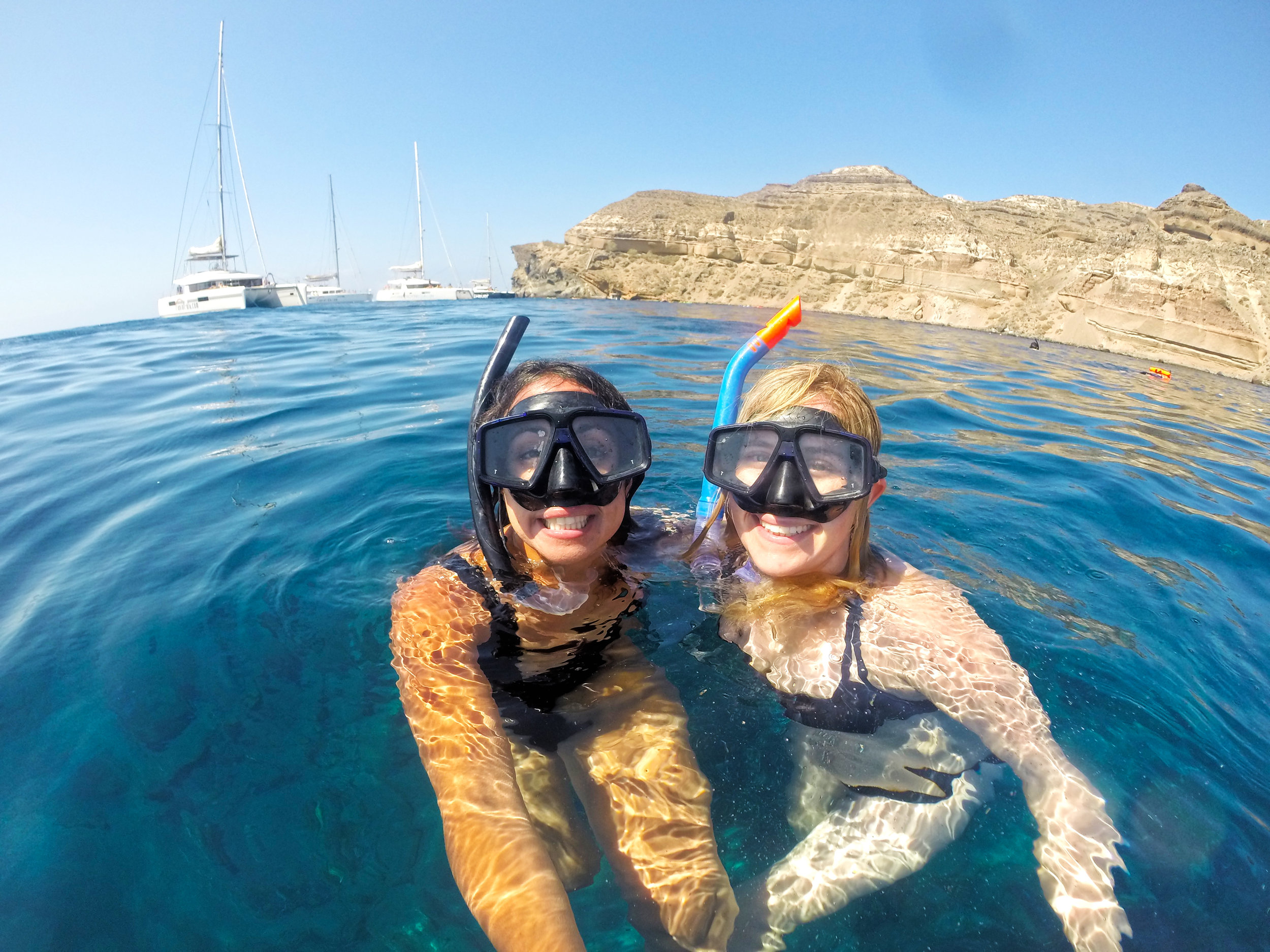 Oh right, this is me, and my bestie, and we look so cute in snorkel masks...