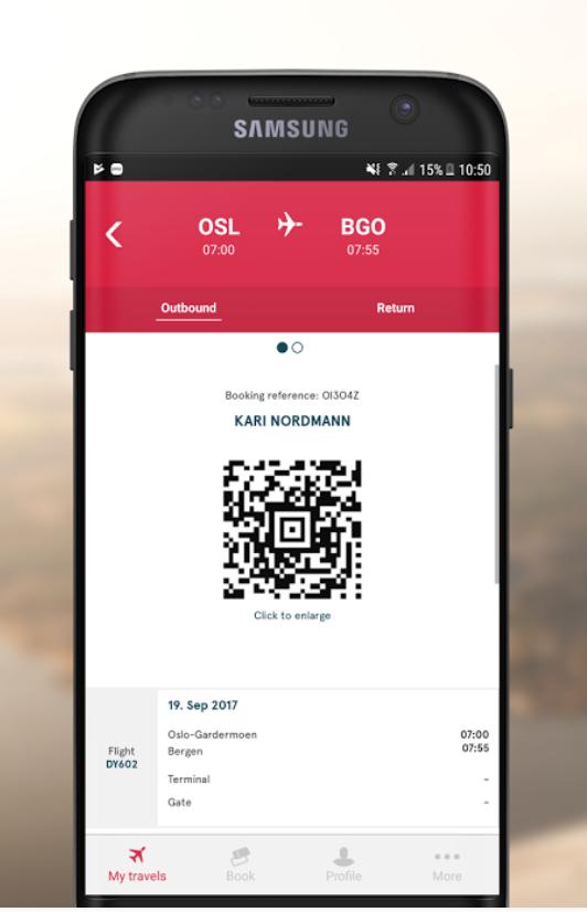 Norwegian Airlines app via  Google Play store