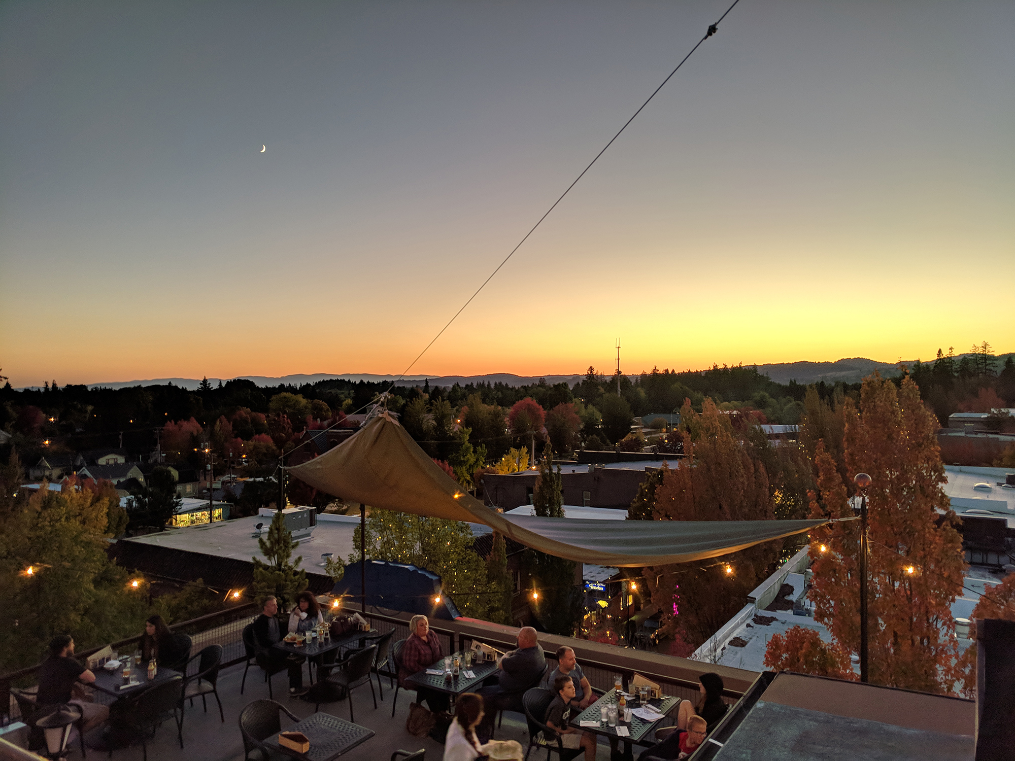 The rooftop view from McMenamins Hotel Oregon Rooftop Bar