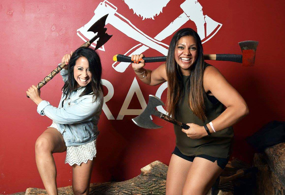 Rage Axe Throwing poses
