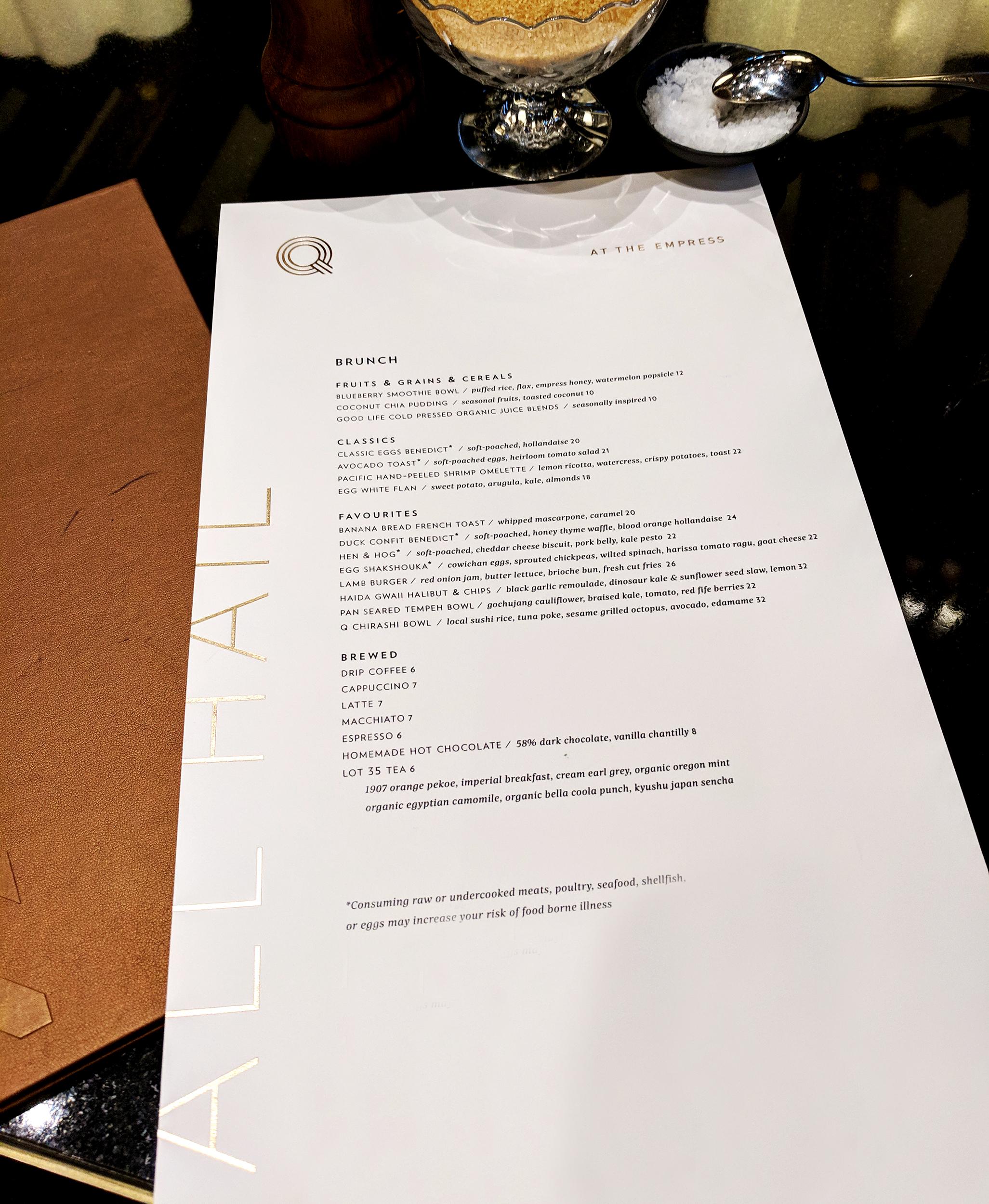 Q at the Empress brunch menu