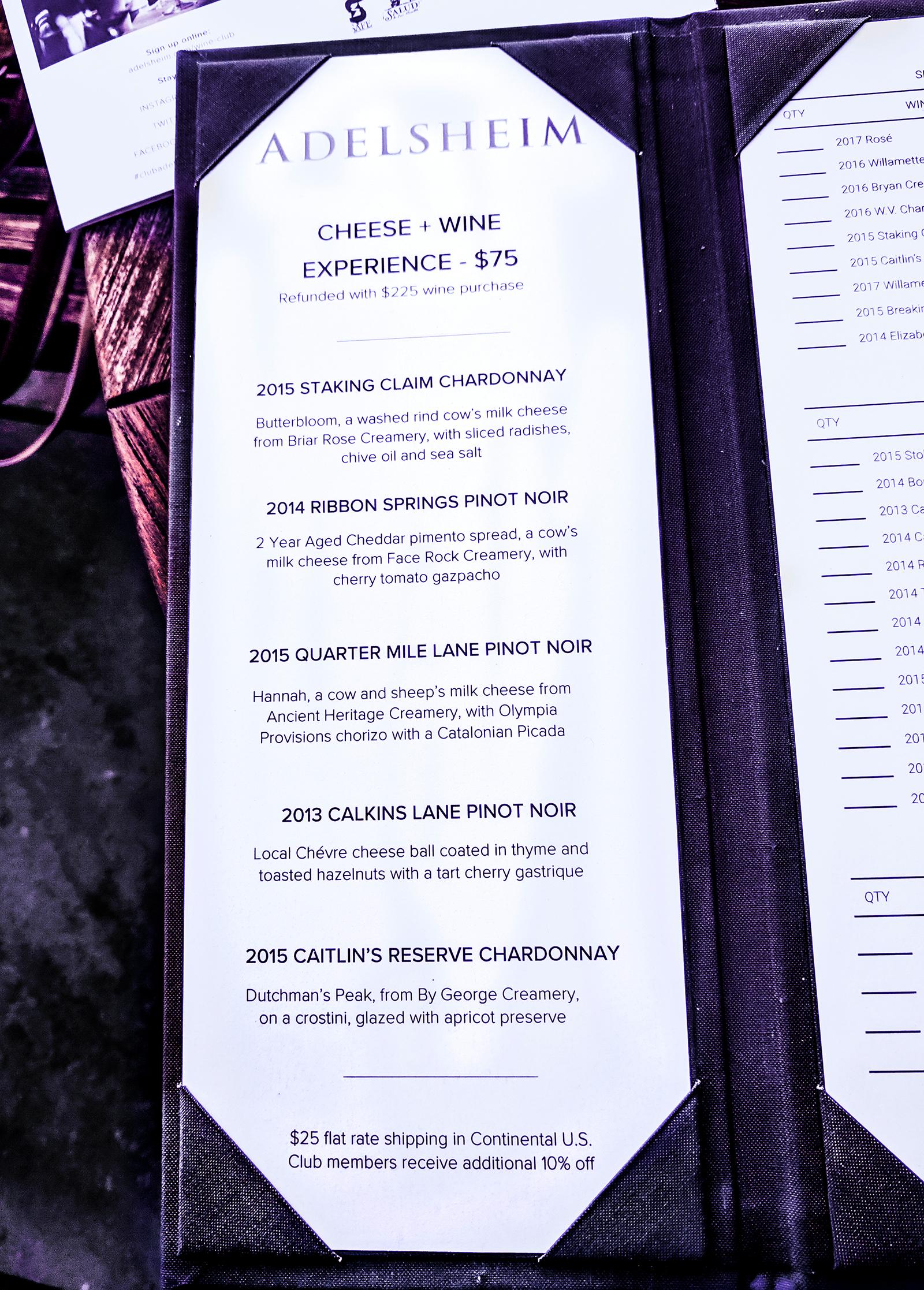 Adelsheim tasting menu