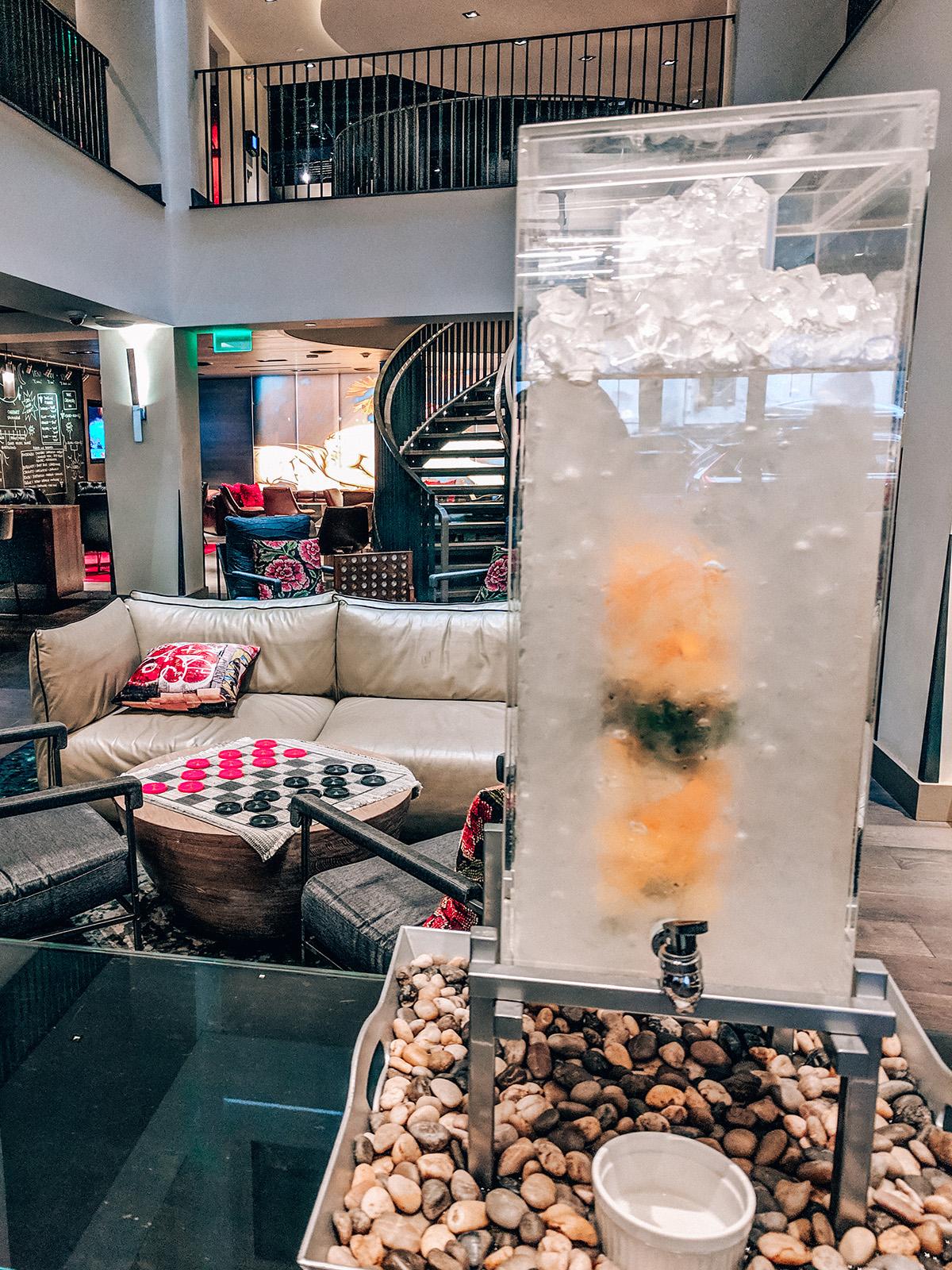 Hotel Vintage lobby infused water