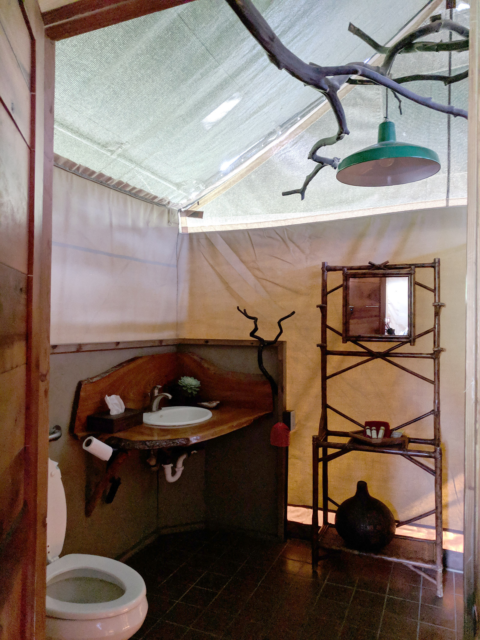 Safari West tent bathroom