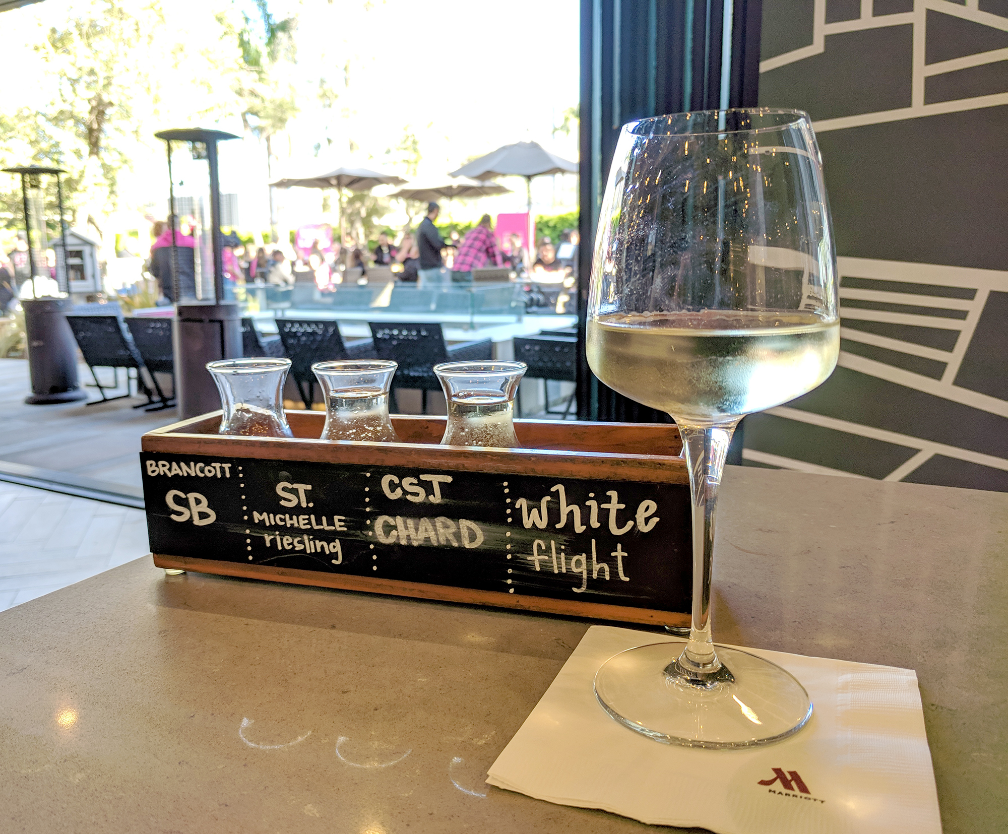 White Wine flight at 21 Square Bar & Kitchen at the Marriott