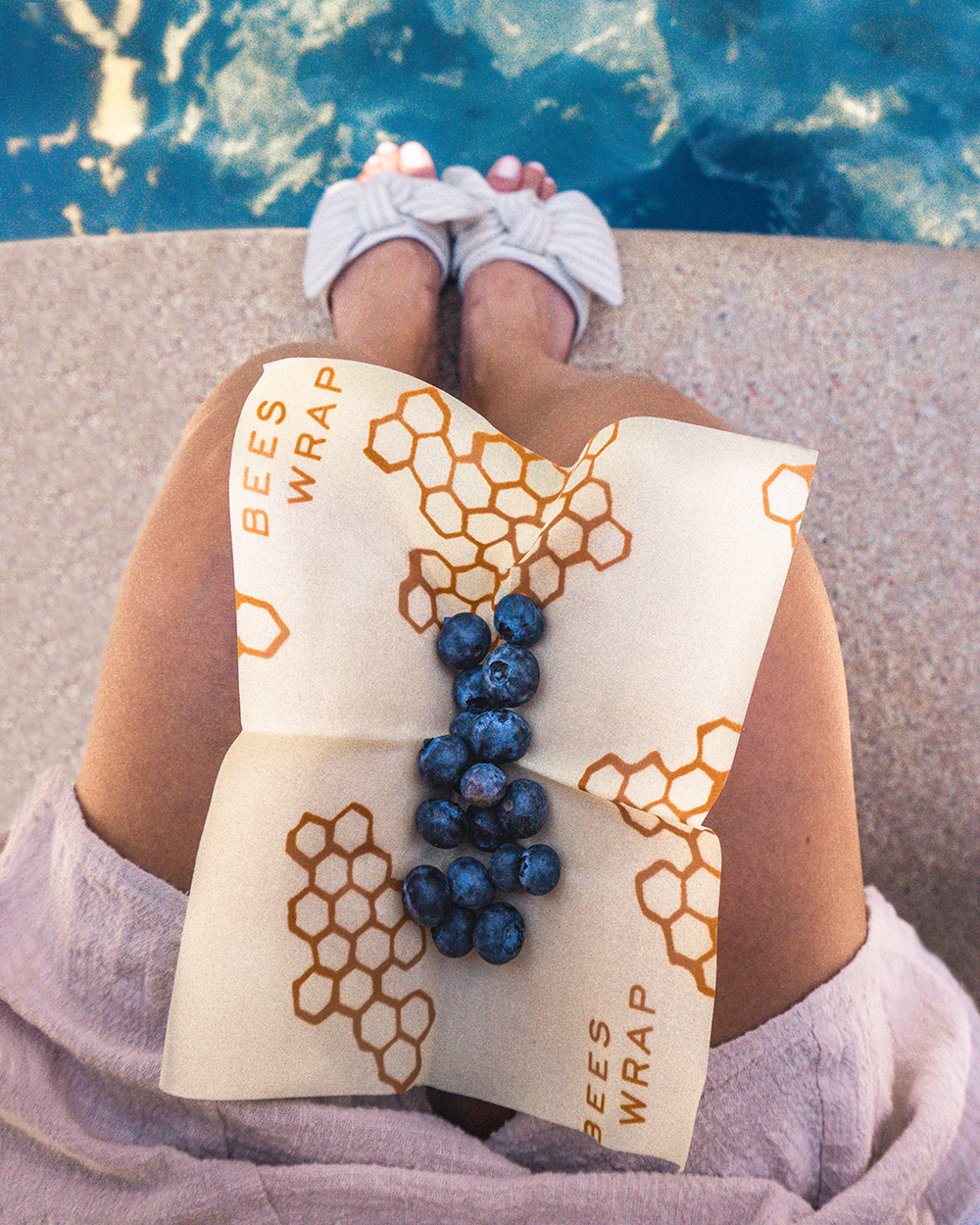 Bees Wrap with blueberries