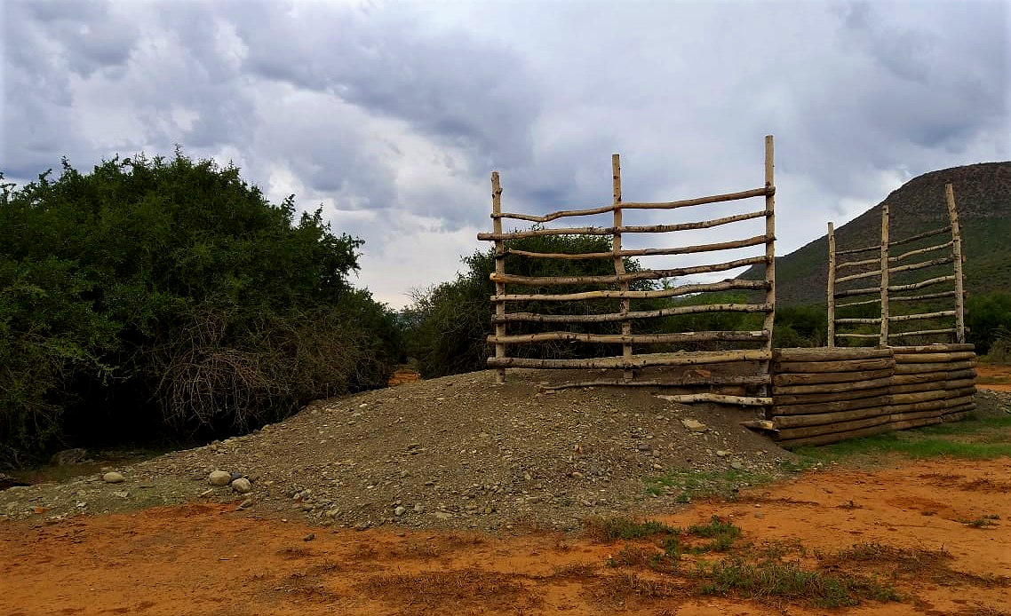 An offloading ramp built at a reserve receiving elephants.