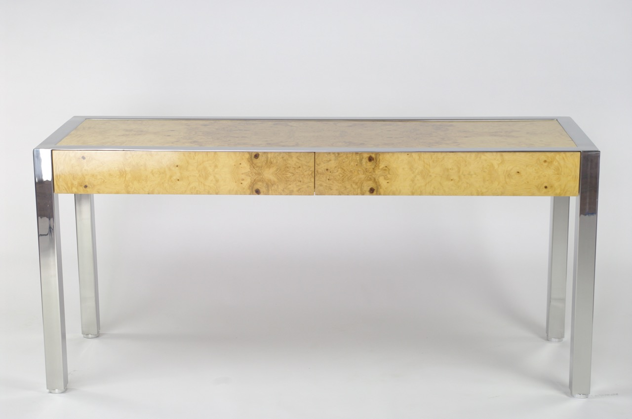 Burl wood console table by Leon Rosen for Pace - $3,200