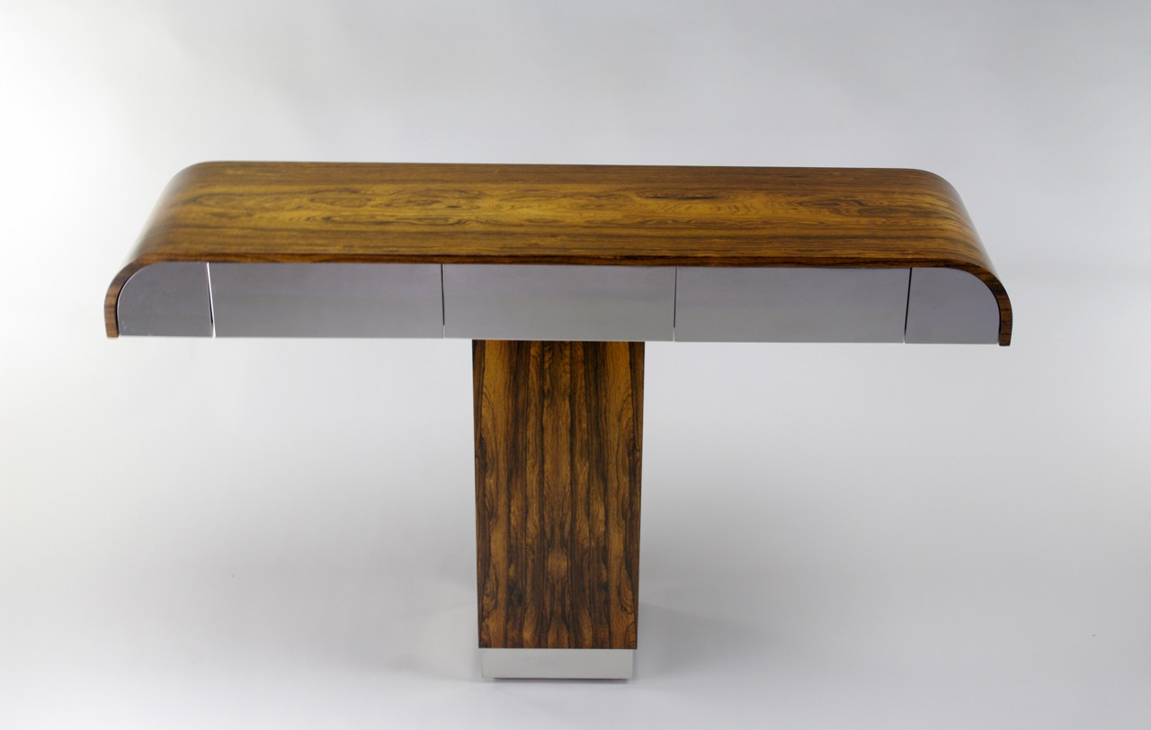 Custom rosewood and chrome console table, 1970s - SOLD