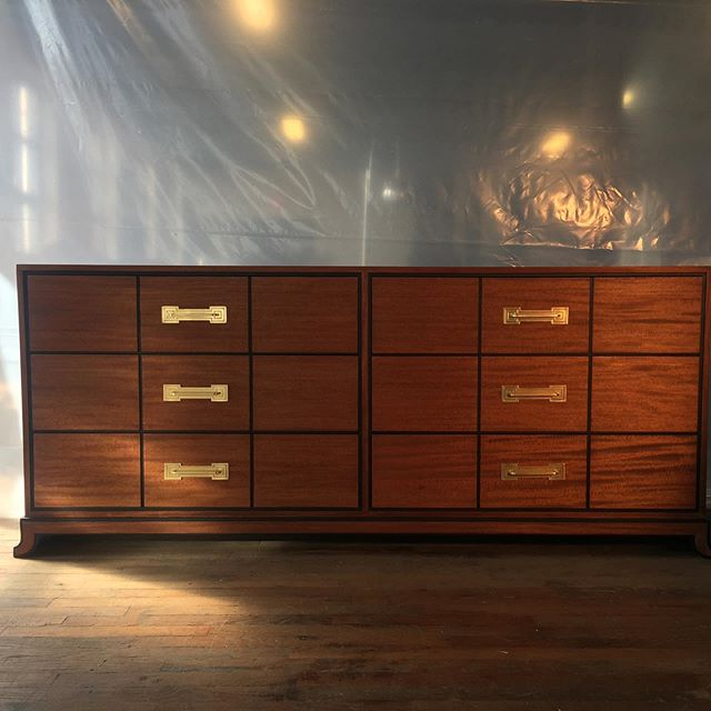 Gorgeous restoration in progress by the talented @shlewiebear with this #tommiparzinger dresser for Charak Modern. It's all about the lines on this. Beautiful - and available.