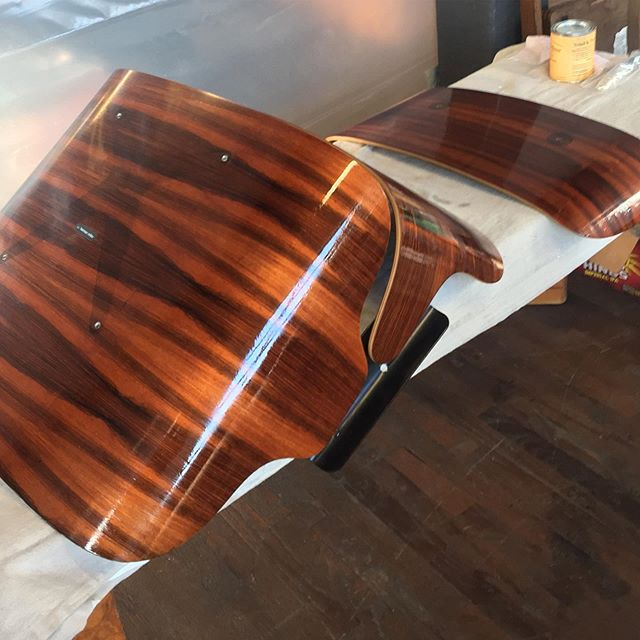 The talented @shlewiebear bringing rosewood shells back to life for our Eames lounger restoration for a customer. Love it when that Danish oil first gets applied.