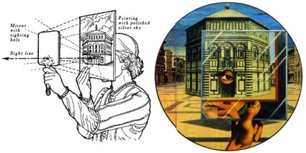 Brunelleschi developed mastery early in his career by comparing his work to the greatest human accomplishments and to nature itself. He discovered linear perspective, changing the world of painting forever, during this period. The discovery appears to have occurred by struggling with the discrepancies between his drawings and the image of the natural world striking his retinas. The illustration shows Brunelleschi comparing a reflection of a painting and a building in Florence by moving a mirror back and forth. In this way, he could see without moving his eyes when there was no difference in proportions between the two. The same information had been available to artists through time, but none of them used it systematically enough to be able to conform image to nature so successfully.
