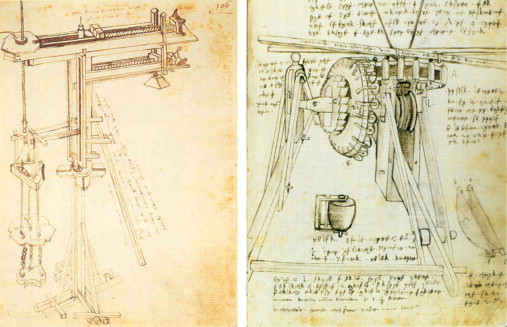 A hoist for lifting stones during the building of Brunelleschi's dome was more sophisticated than any hoist before it. Brunelleschi designed it because no existing hoist could manage the challenges of a dome of the scale he was building, a challenge he met and mastered rather than letting it deter him. The sketch is by Leonardo da Vinci during his apprenticeship. Leonardo's attention to detail shows his own meticulous effort to master the possibilities of human innovation.