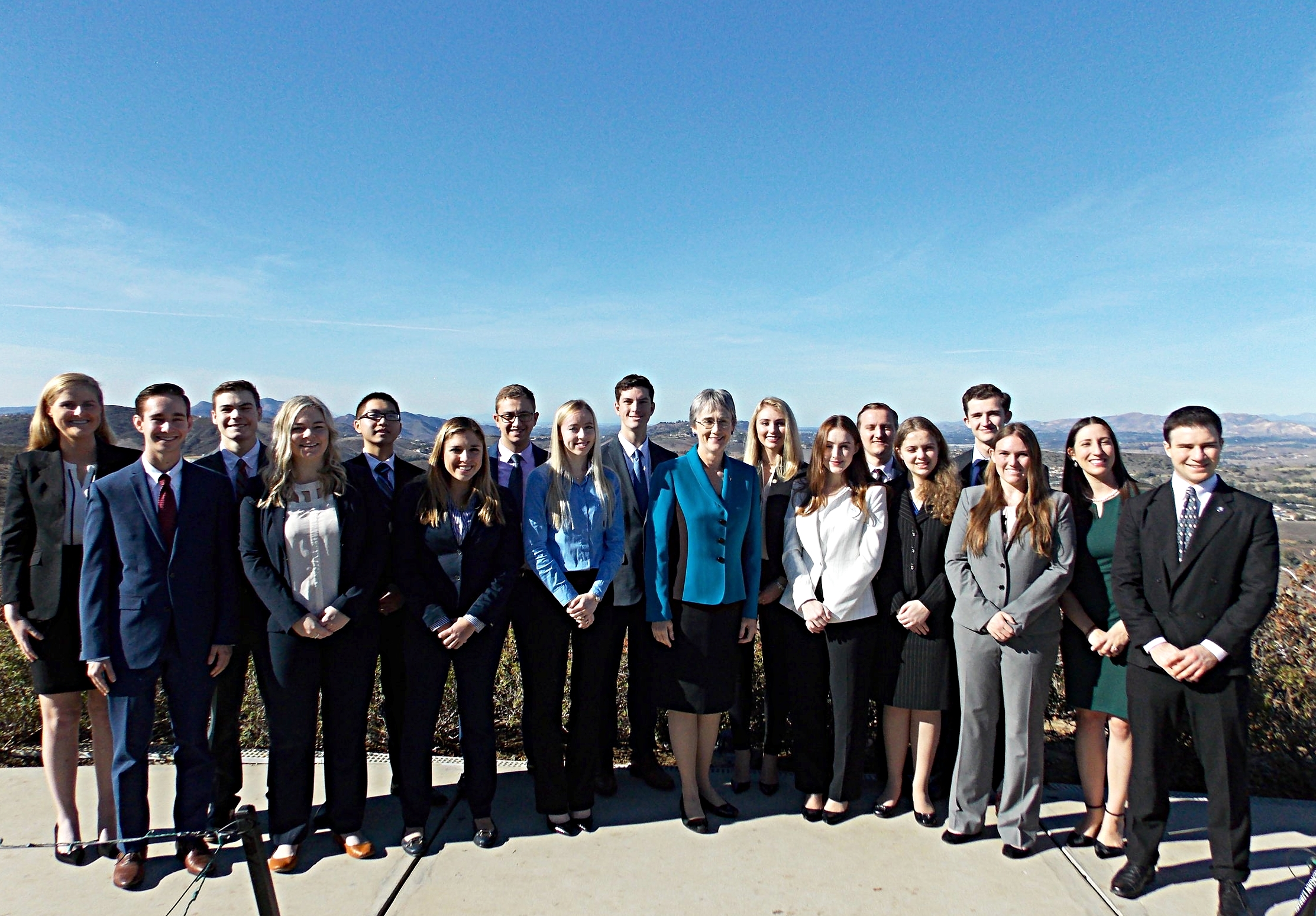 Students with Air Force Secretary Heather Wilson