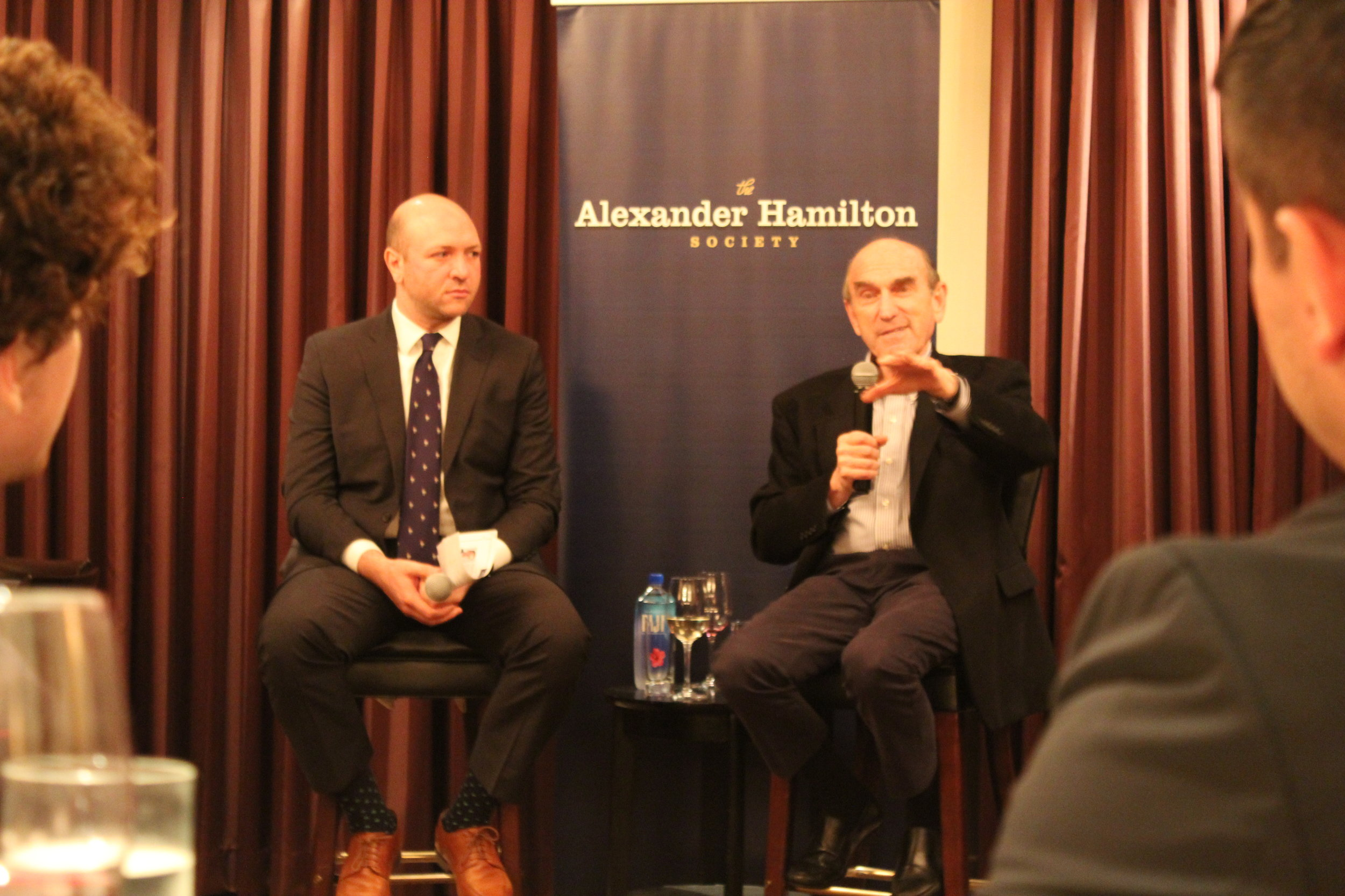 Special Representative for Venezuela Elliott Abrams speaks to students over dinner