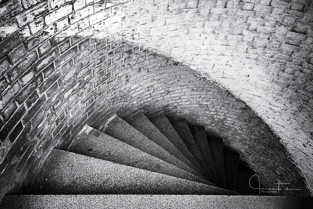 Spiral stairs at Fort Point National Historical Site. Taken December 2013 by James Fike Photography.