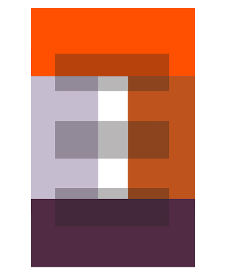 Orange and Plum Rectangles with Three Gray Transparencies