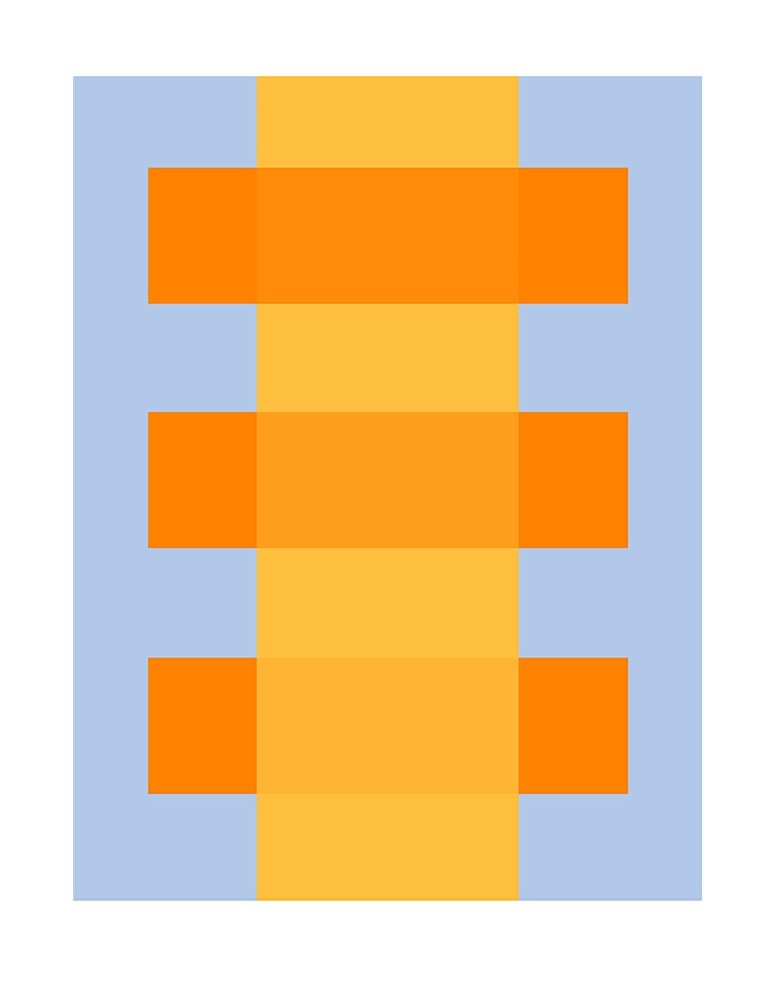 Yellow Through Orange on Blue