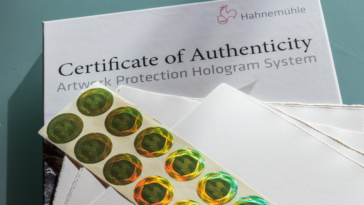 All my Editions are exclusively Protected through Hahnemuhles Hologram system!    The Certificate of Authenticity & Hologram System from Hahnemuhle allows protection, security and genuineness of your limited edition artwork and reproductions on Hahnemuhle paper and reduces risk of forgery.