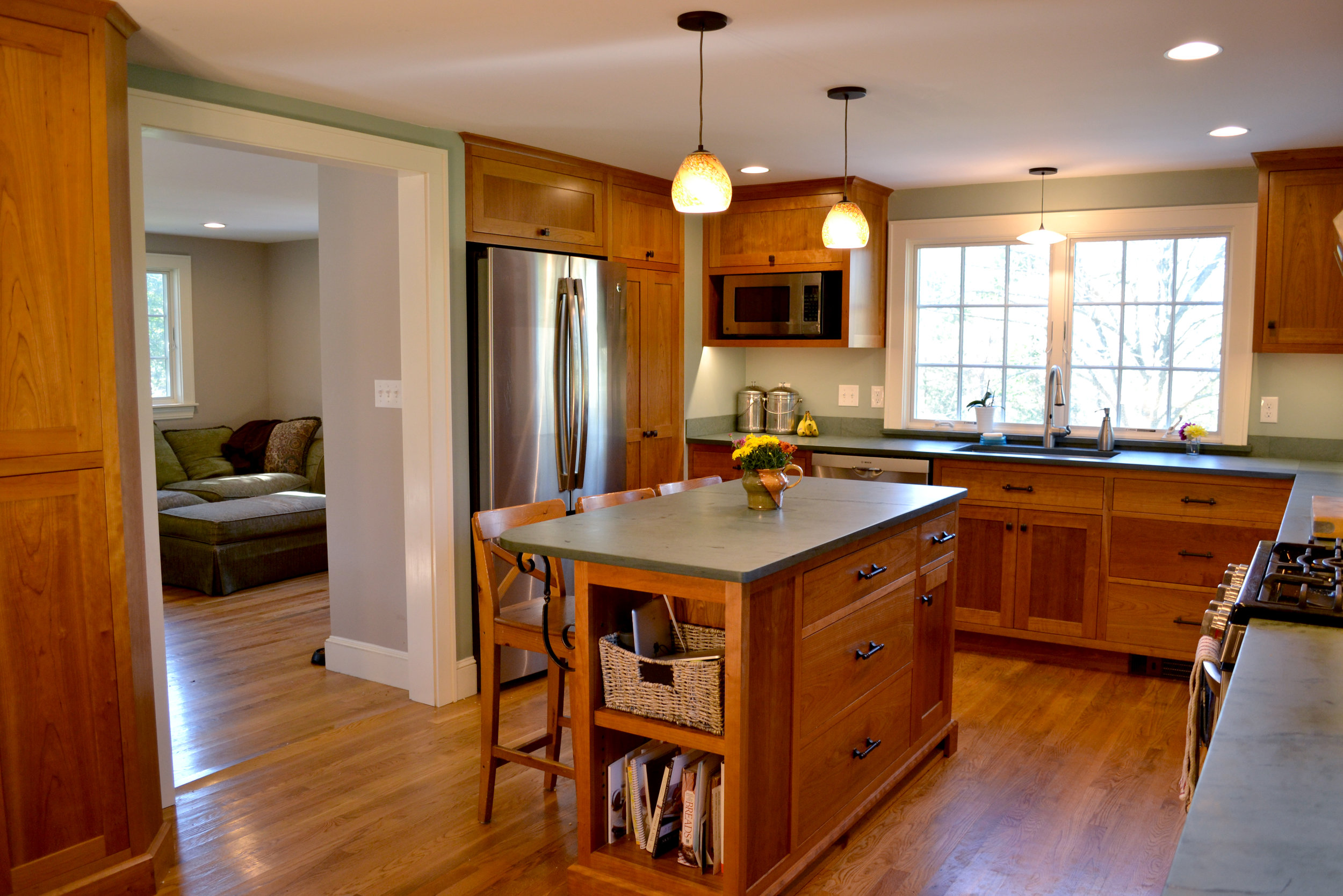 Converted to Kitchen | Cherry Cabinets | Island Counter | Dickinson Architects