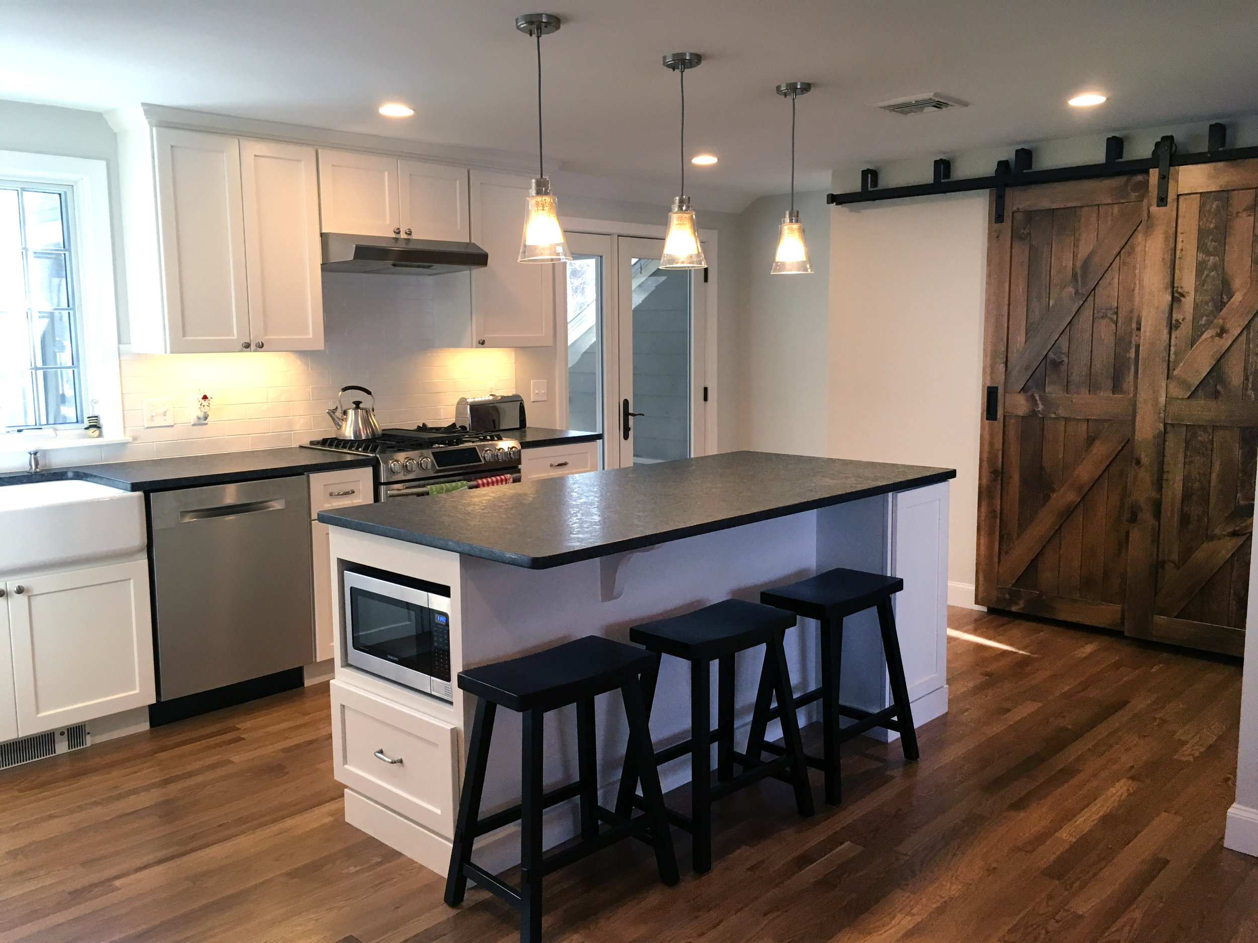 Barn Door Kitchen Renovation | Dickinson Architects, LLC | Bedford, MA