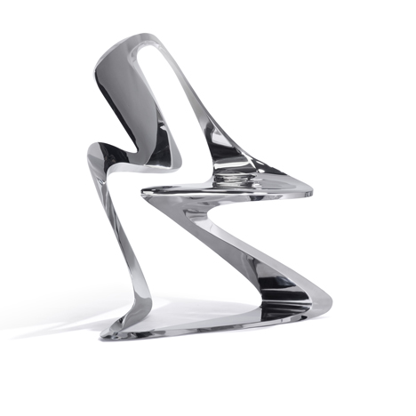 Z-Chair in Polished Stainless Steel  | Photo Credit: Ruy Teixera via Sawaya & Moroni
