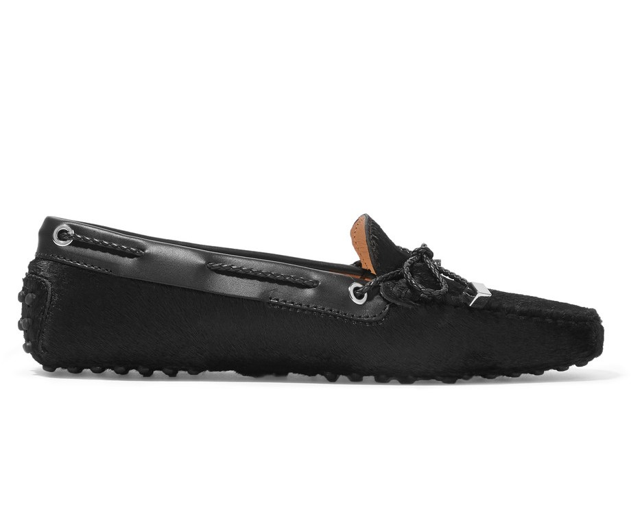 TOD'S - Gommino leather-trimmed calf hair loafers