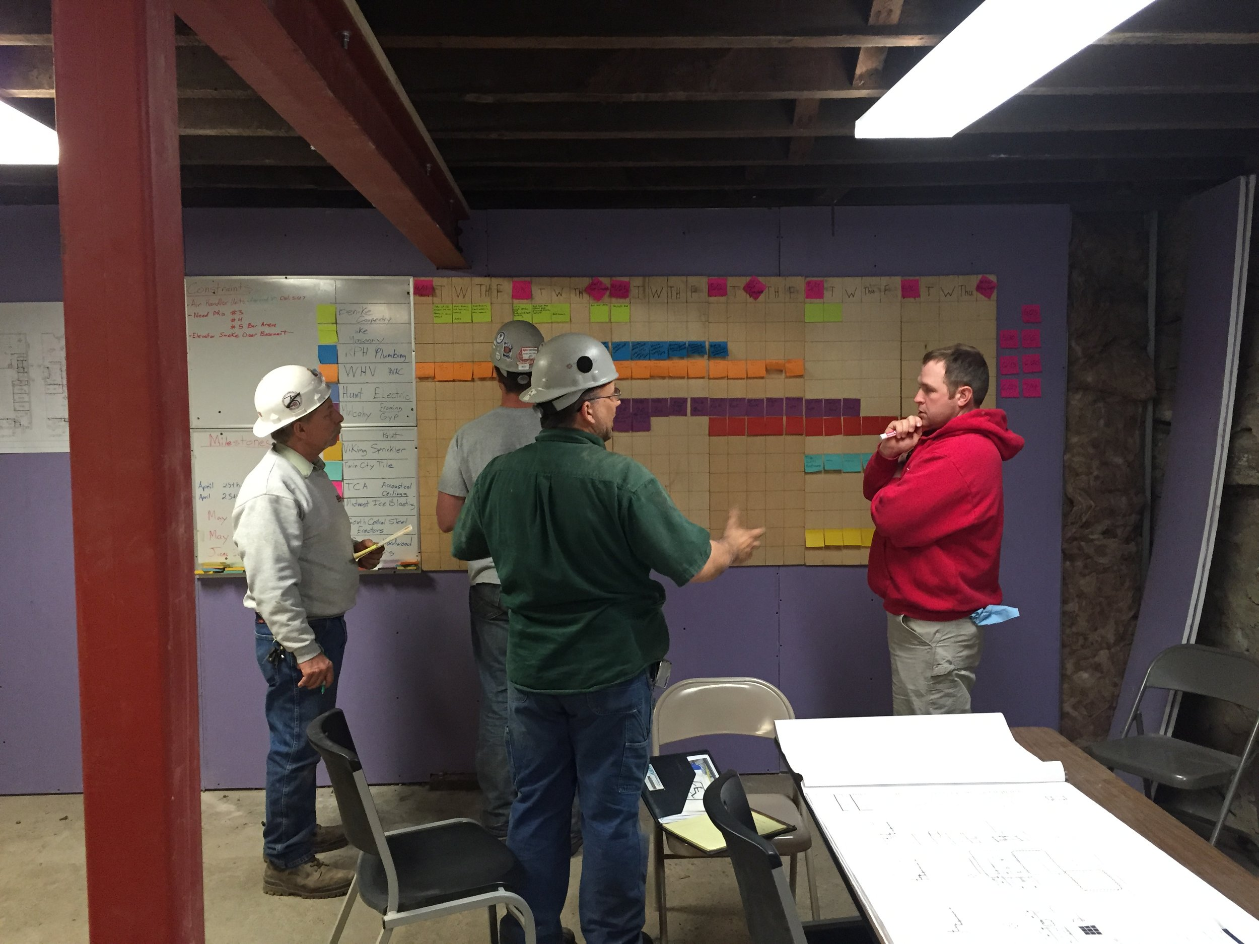 The construction crew planning out the next six weeks using lean construction.